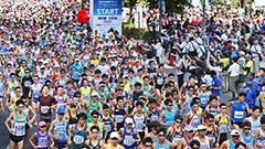 声援背に 道都快走 北海道マラソンに1万7千人