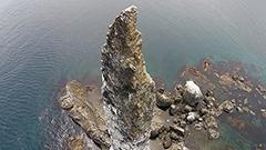 ドローンで迫る奇岩・ローソク岩<探る見る>