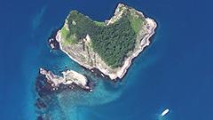 ネットで話題「ハート島」 緑のカモにも見える? 積丹