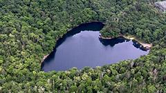 ハート形「豊似湖」に今年も遊覧飛行 えりも町